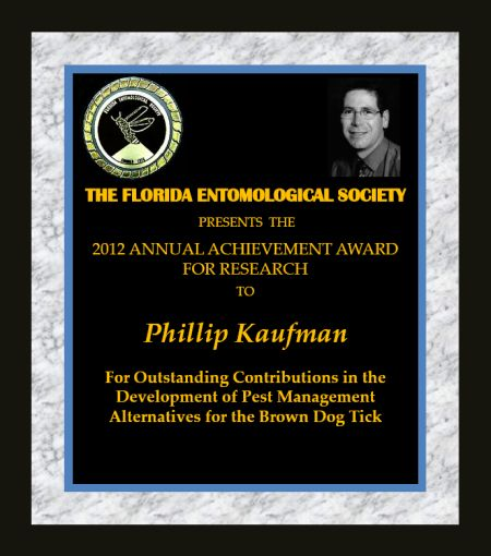 Phillip Kaufman receives 2012 FES Entomologist of the Year Award