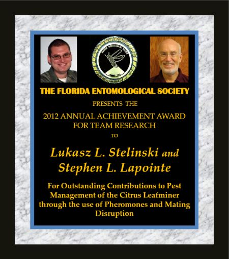 Stelinski and Lapointe receive 2012 Achevement Award for Research Teams