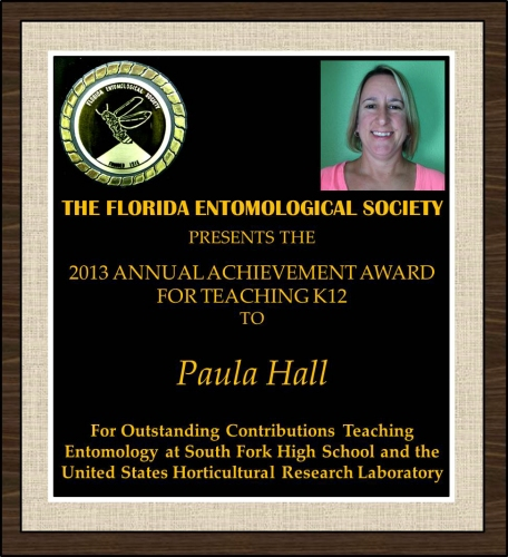 Paula Hall receives the 2013 FES Award for Teaching K12