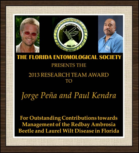 Jorge Peña and Paul Kendra receive the 2013 FES Research Team Award